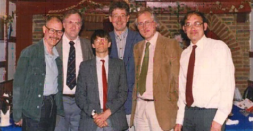 University of Kent Centre for Southeast Asian Studies (c.1981), back row left to right: Barry Hooker (Law), Jeremy Kemp (Anthropology); front row left to right: John Bousfield (Philosophy, Religious Studies), Richard Vokes (Economics), Roy Ellen (Anthropology); Bill Watson (History, Literature, Anthropology)