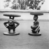 Fon sculpture at Chief Justin Aho, male & female figures. Abomey. c.1949-50. Photograph by W.B Fagg © RAI